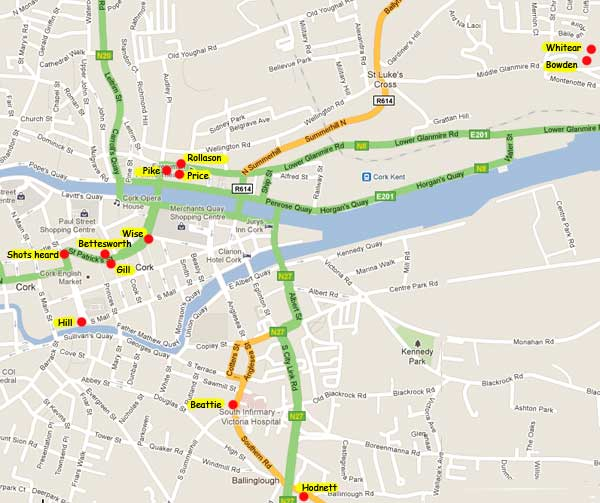 Cork Shootings map