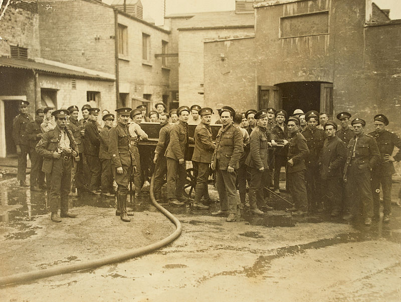 Soldiers_attending_fire_Royal Army Motor Depot,_Parkgate_Street,_Dublin_1920s_