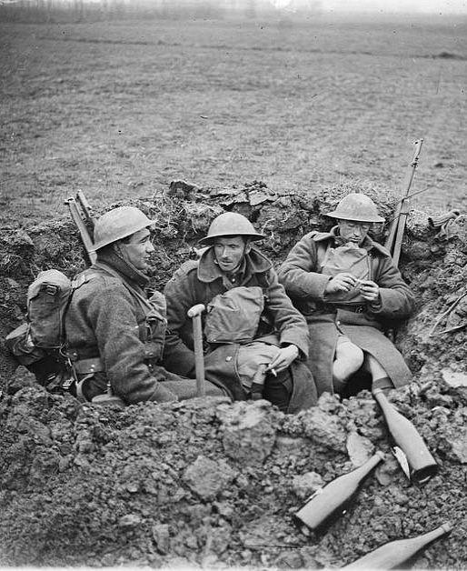 Tommies in a shell hole